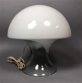 VISTOSI Art Glass Mushroom Form Table Lamp. Clear