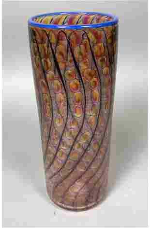 Tall Cylindrical Art Glass Vase. Internal Net Pat