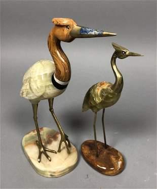 Set 2 Carved Onyx Brass Egrets Birds. Decorator c