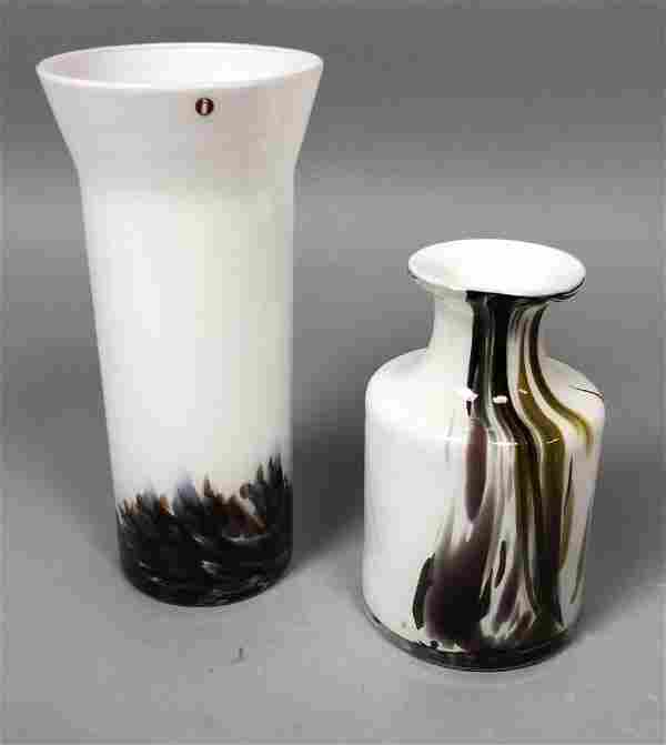 2pc Modernist Art Glass Vases. 1) IITTALA Finland