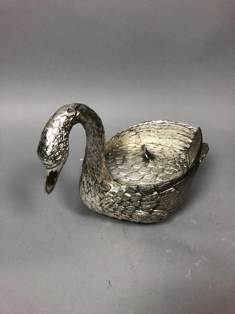 Figural Swan Lidded Ice Bucket. Decorator Serving