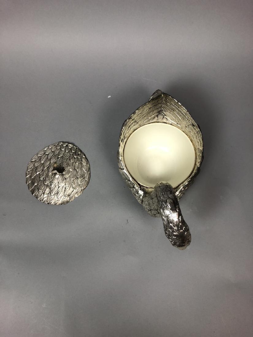 Figural Swan Lidded Ice Bucket. Decorator Serving - 4