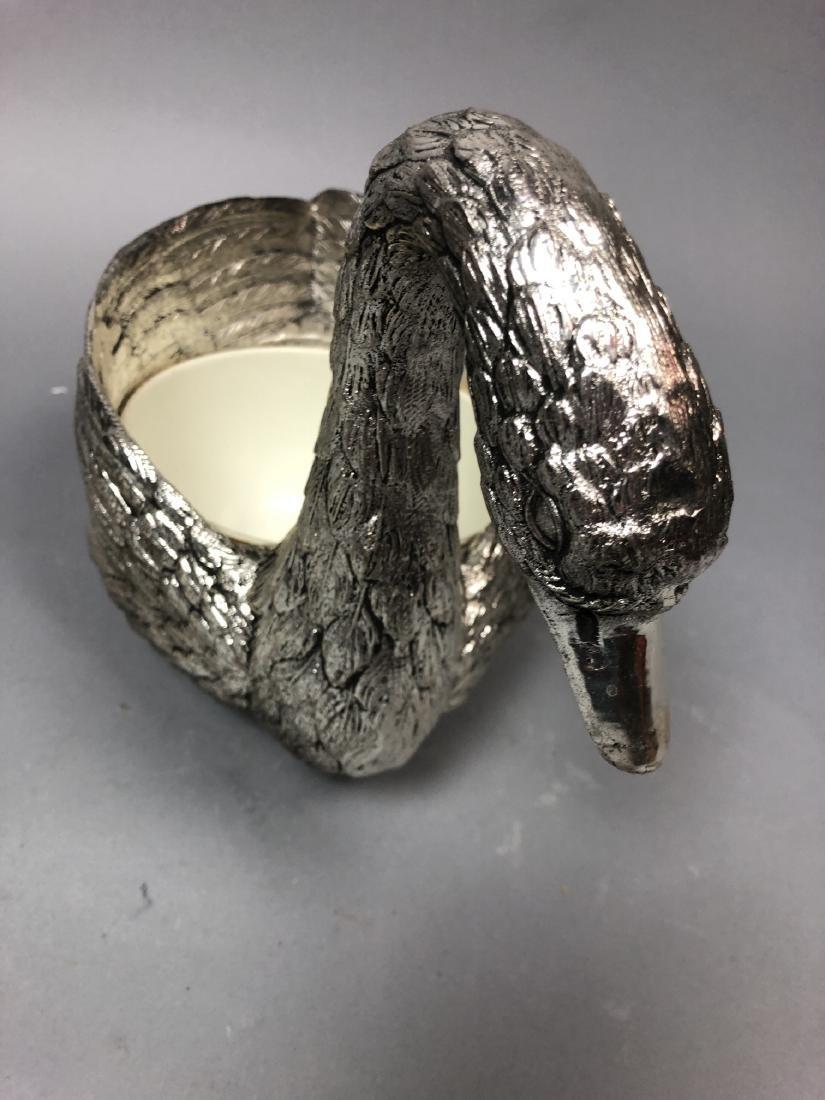 Figural Swan Lidded Ice Bucket. Decorator Serving - 6
