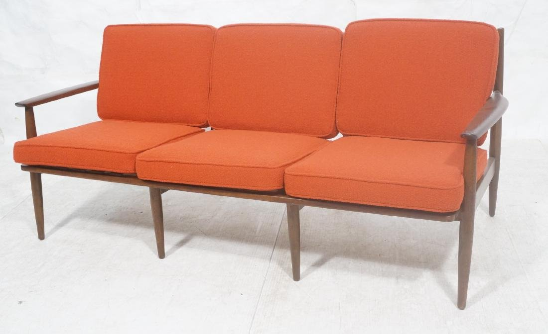 Danish Modern style Teak Sofa Couch. Red KNOLL Bo