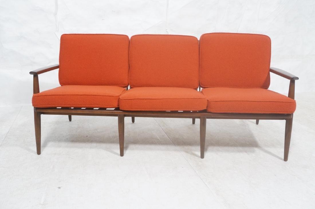Danish Modern style Teak Sofa Couch. Red KNOLL Bo - 2