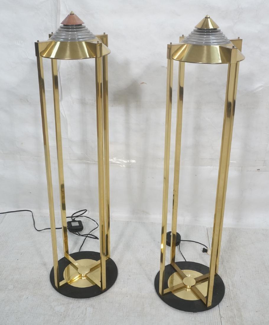 Pr Springer Style Brass Frame Column Floor Lamps.