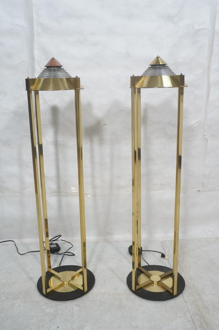 Pr Springer Style Brass Frame Column Floor Lamps. - 2