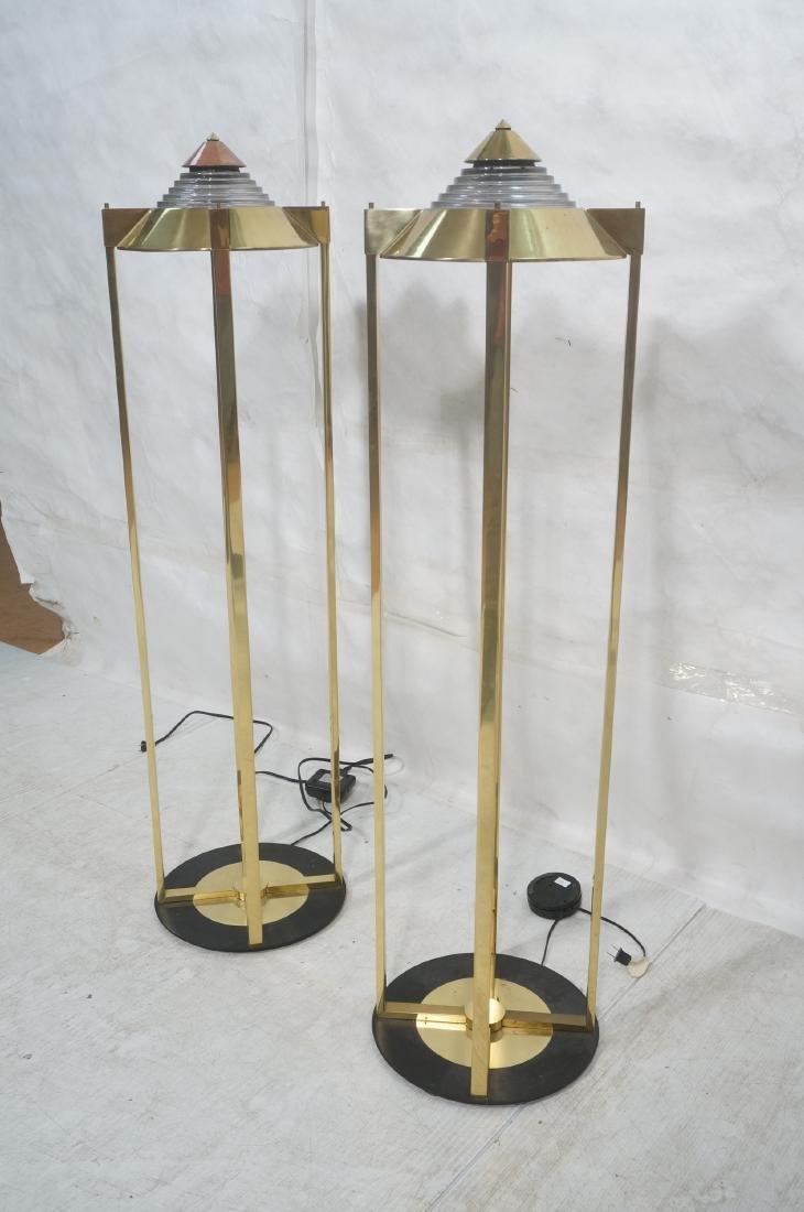 Pr Springer Style Brass Frame Column Floor Lamps. - 3
