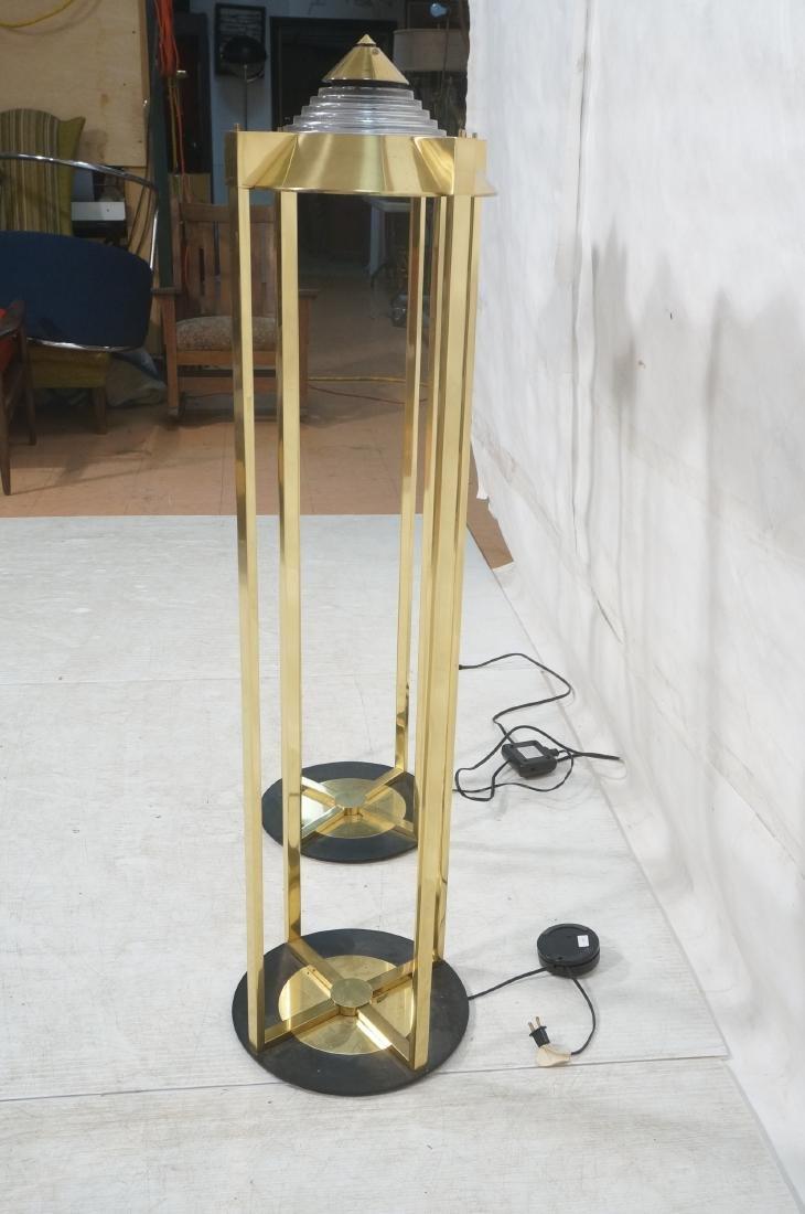 Pr Springer Style Brass Frame Column Floor Lamps. - 4