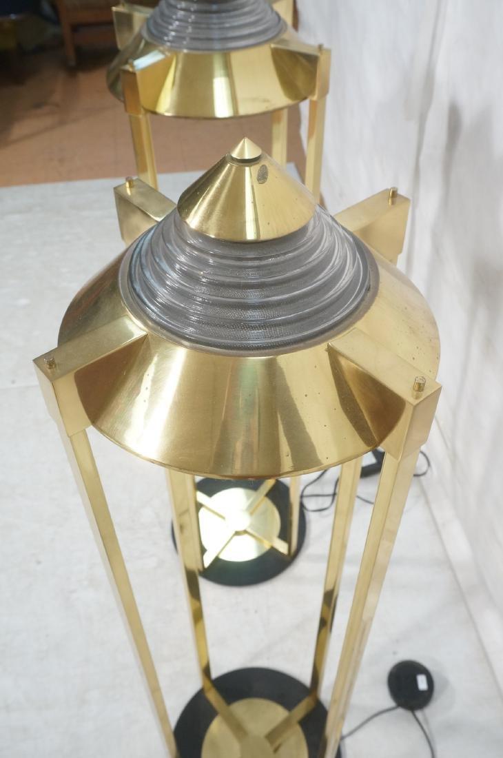 Pr Springer Style Brass Frame Column Floor Lamps. - 5