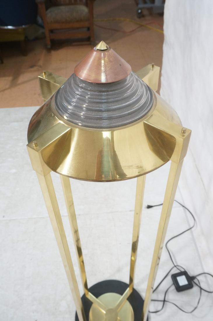 Pr Springer Style Brass Frame Column Floor Lamps. - 6