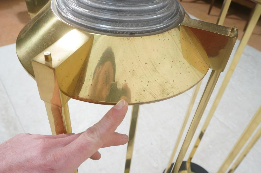 Pr Springer Style Brass Frame Column Floor Lamps. - 7