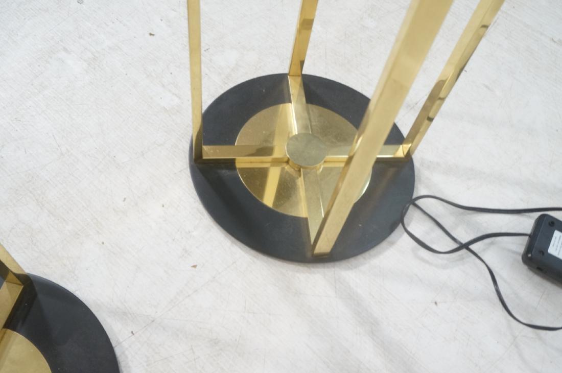 Pr Springer Style Brass Frame Column Floor Lamps. - 9