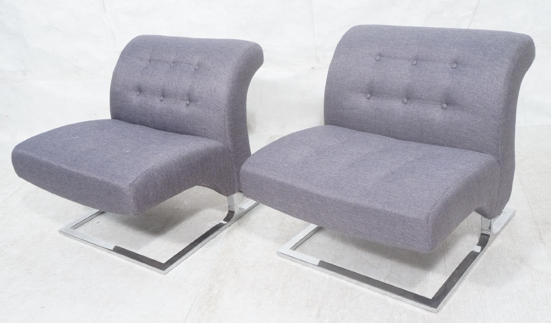 Pr Modernist Lounge Chairs. Gray Tufted Fabric. C