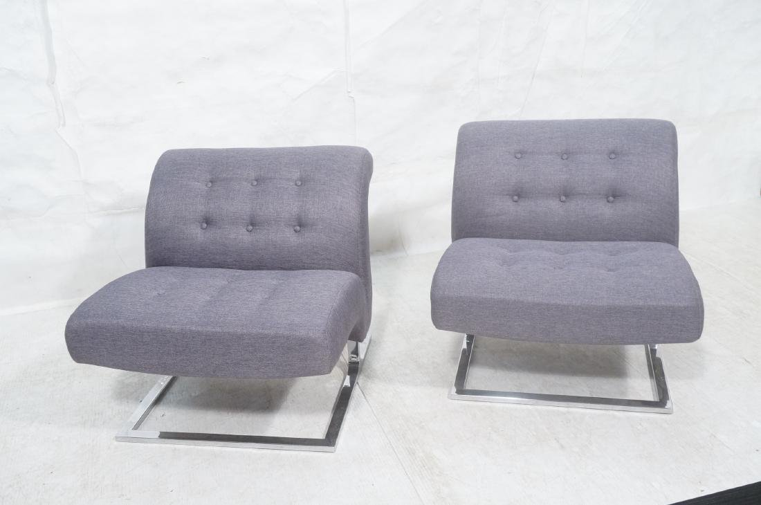 Pr Modernist Lounge Chairs. Gray Tufted Fabric. C - 2