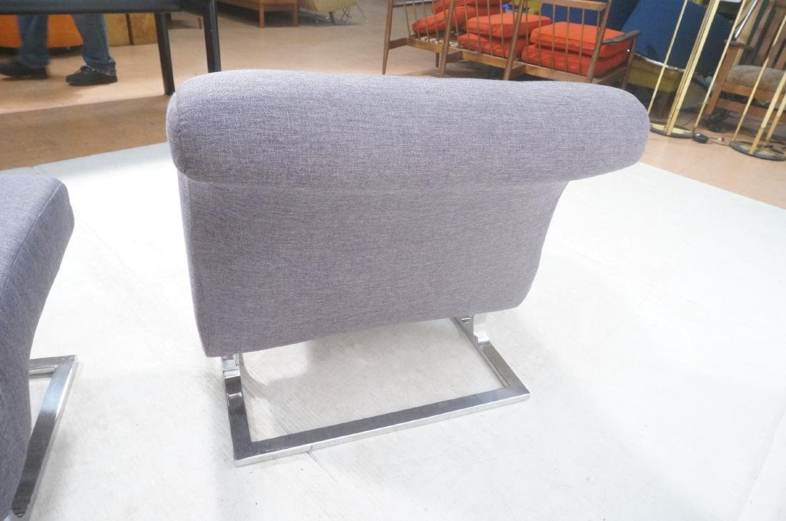Pr Modernist Lounge Chairs. Gray Tufted Fabric. C - 5