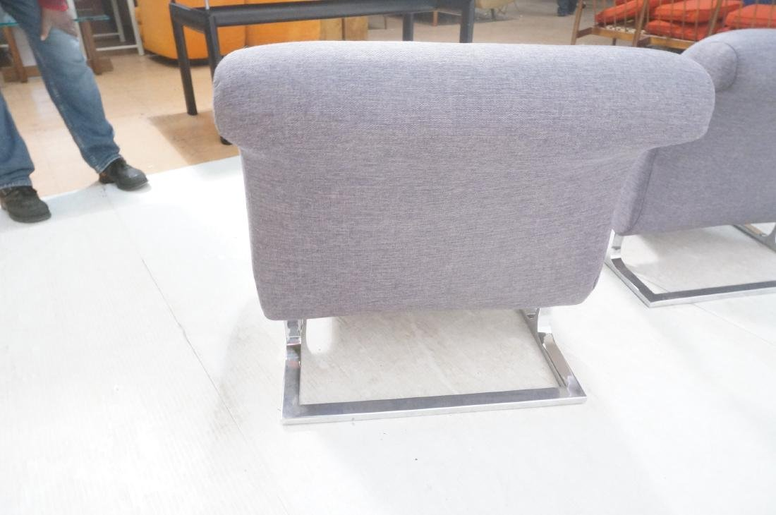 Pr Modernist Lounge Chairs. Gray Tufted Fabric. C - 7