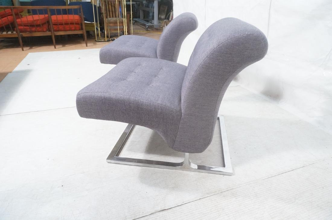 Pr Modernist Lounge Chairs. Gray Tufted Fabric. C - 8