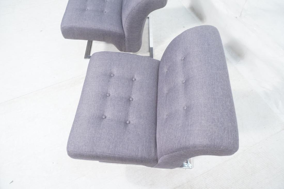 Pr Modernist Lounge Chairs. Gray Tufted Fabric. C - 9