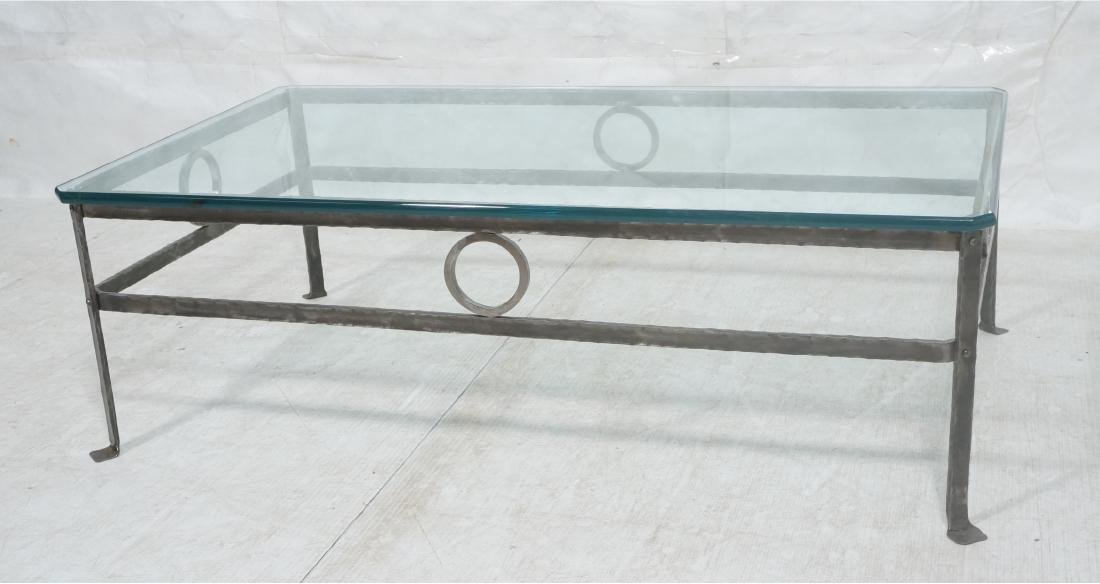 """Heavy Glass Top Wrought Iron Coffee Table .75"""" th"""