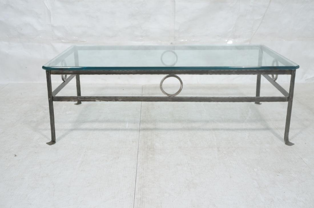 """Heavy Glass Top Wrought Iron Coffee Table .75"""" th - 2"""