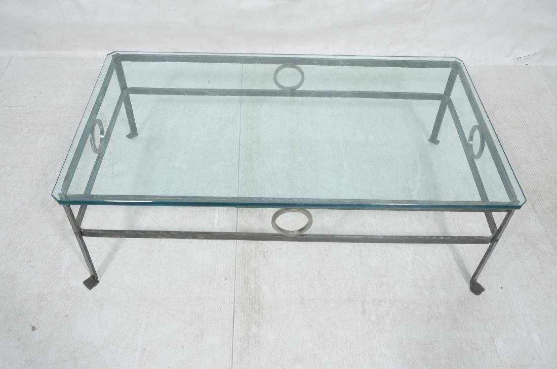 """Heavy Glass Top Wrought Iron Coffee Table .75"""" th - 3"""