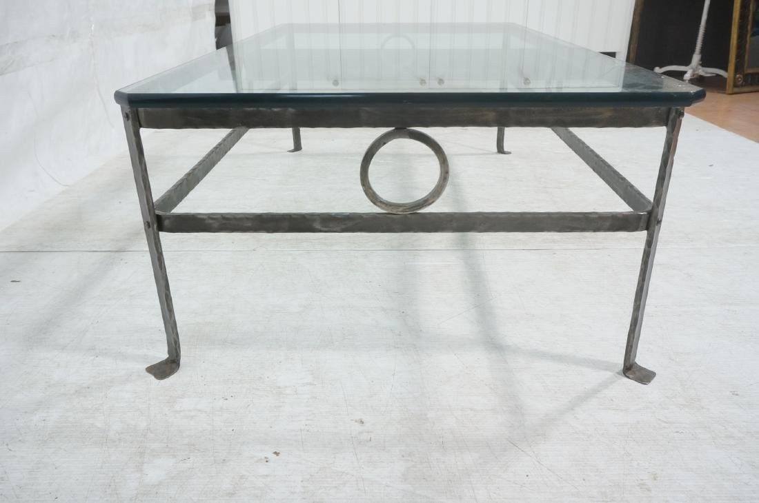 """Heavy Glass Top Wrought Iron Coffee Table .75"""" th - 4"""