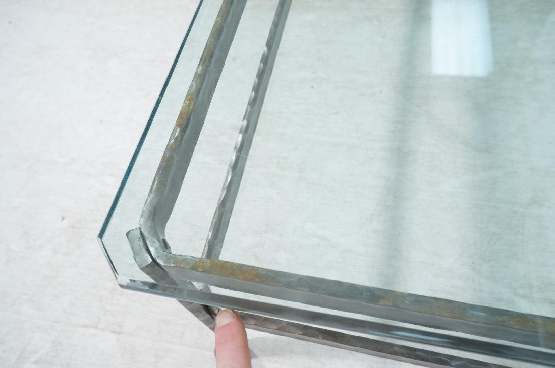 """Heavy Glass Top Wrought Iron Coffee Table .75"""" th - 8"""