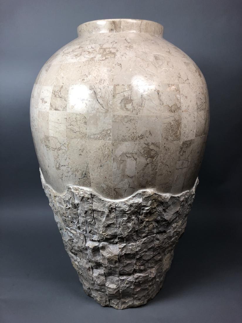 Large Travertine Tile Floor Vase. Heavy vase with - 2
