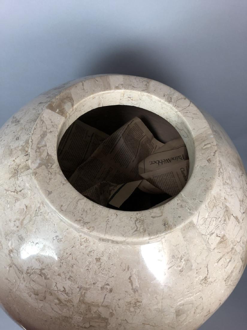 Large Travertine Tile Floor Vase. Heavy vase with - 3