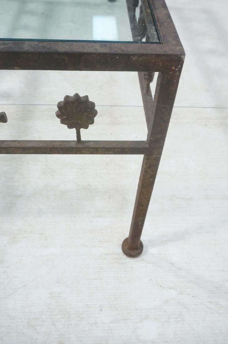Modernist Glass & Iron Rectangular Coffee Table. - 10