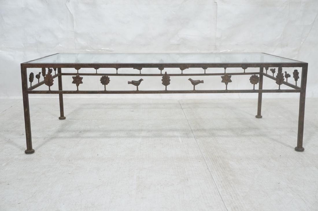 Modernist Glass & Iron Rectangular Coffee Table. - 2