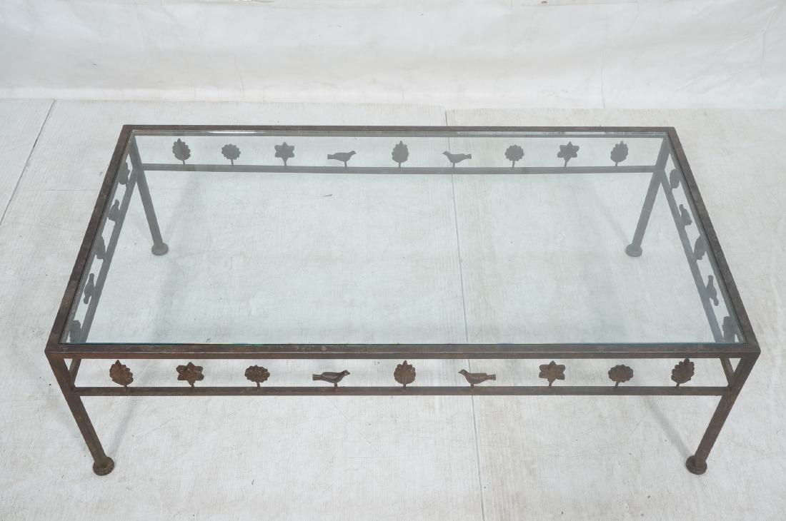 Modernist Glass & Iron Rectangular Coffee Table. - 3