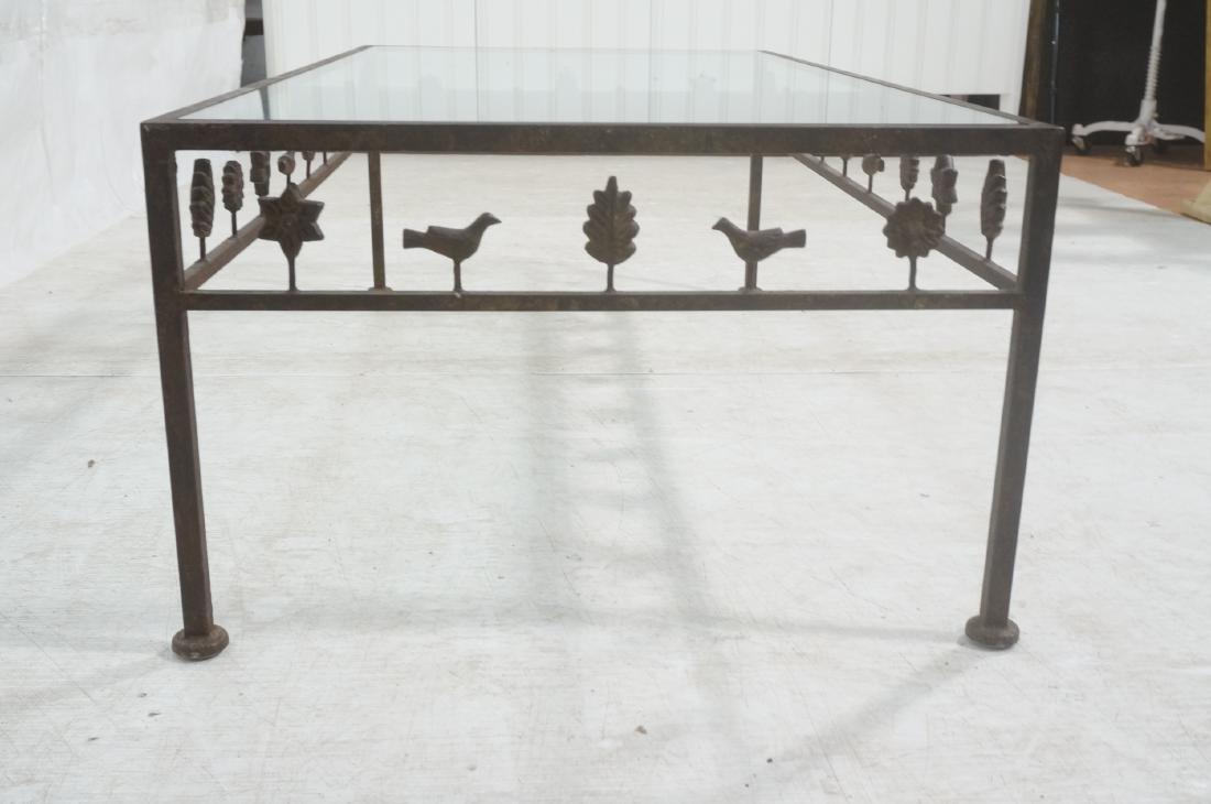 Modernist Glass & Iron Rectangular Coffee Table. - 4