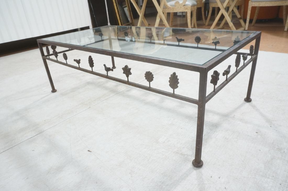 Modernist Glass & Iron Rectangular Coffee Table. - 5