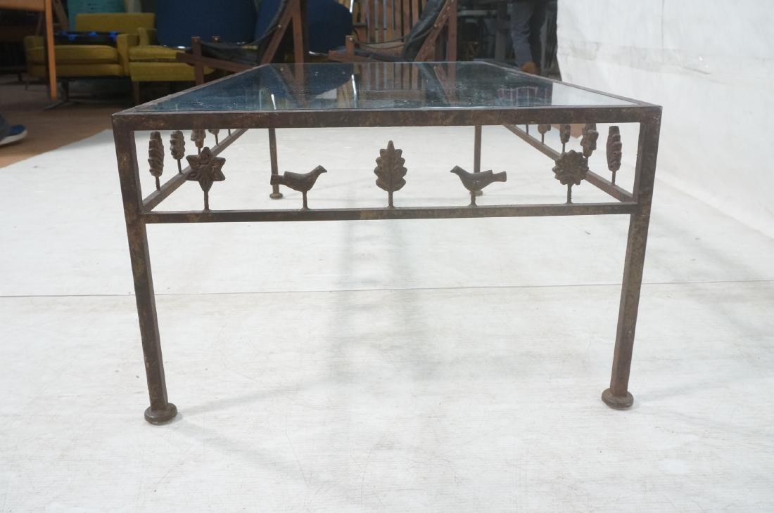 Modernist Glass & Iron Rectangular Coffee Table. - 6