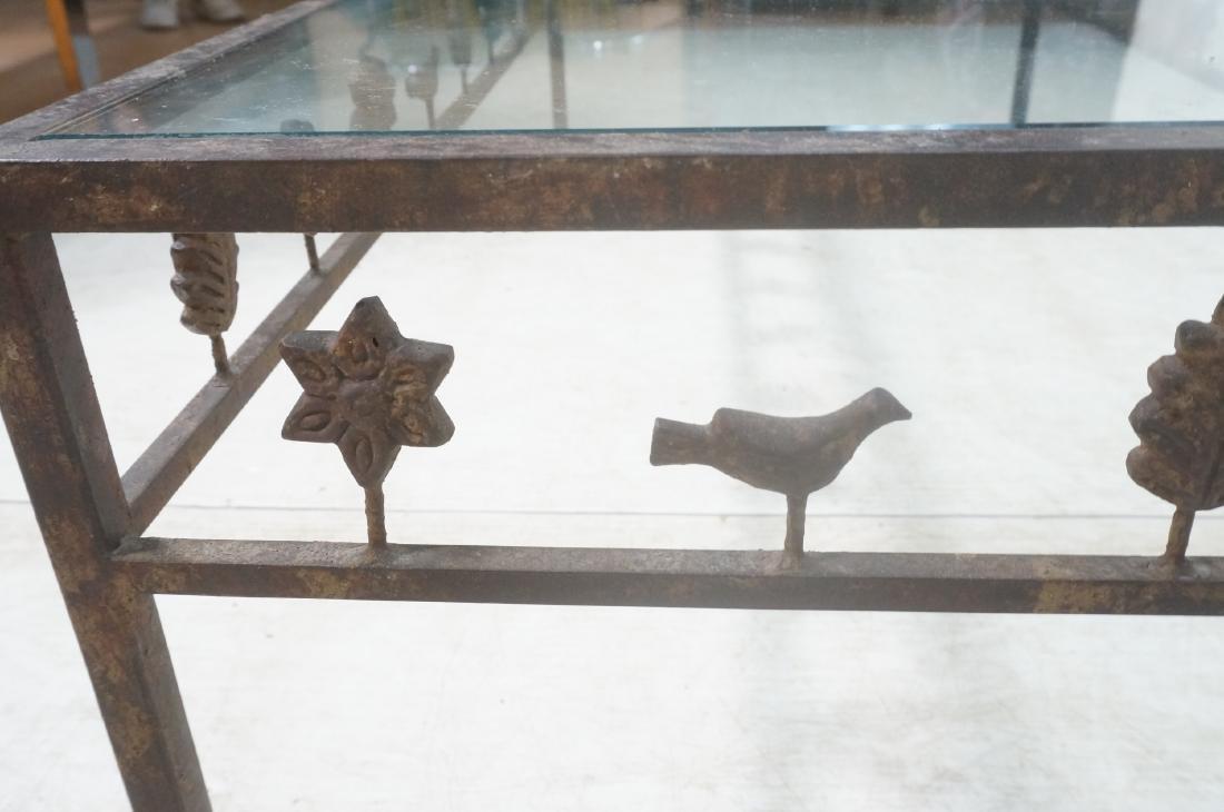 Modernist Glass & Iron Rectangular Coffee Table. - 7
