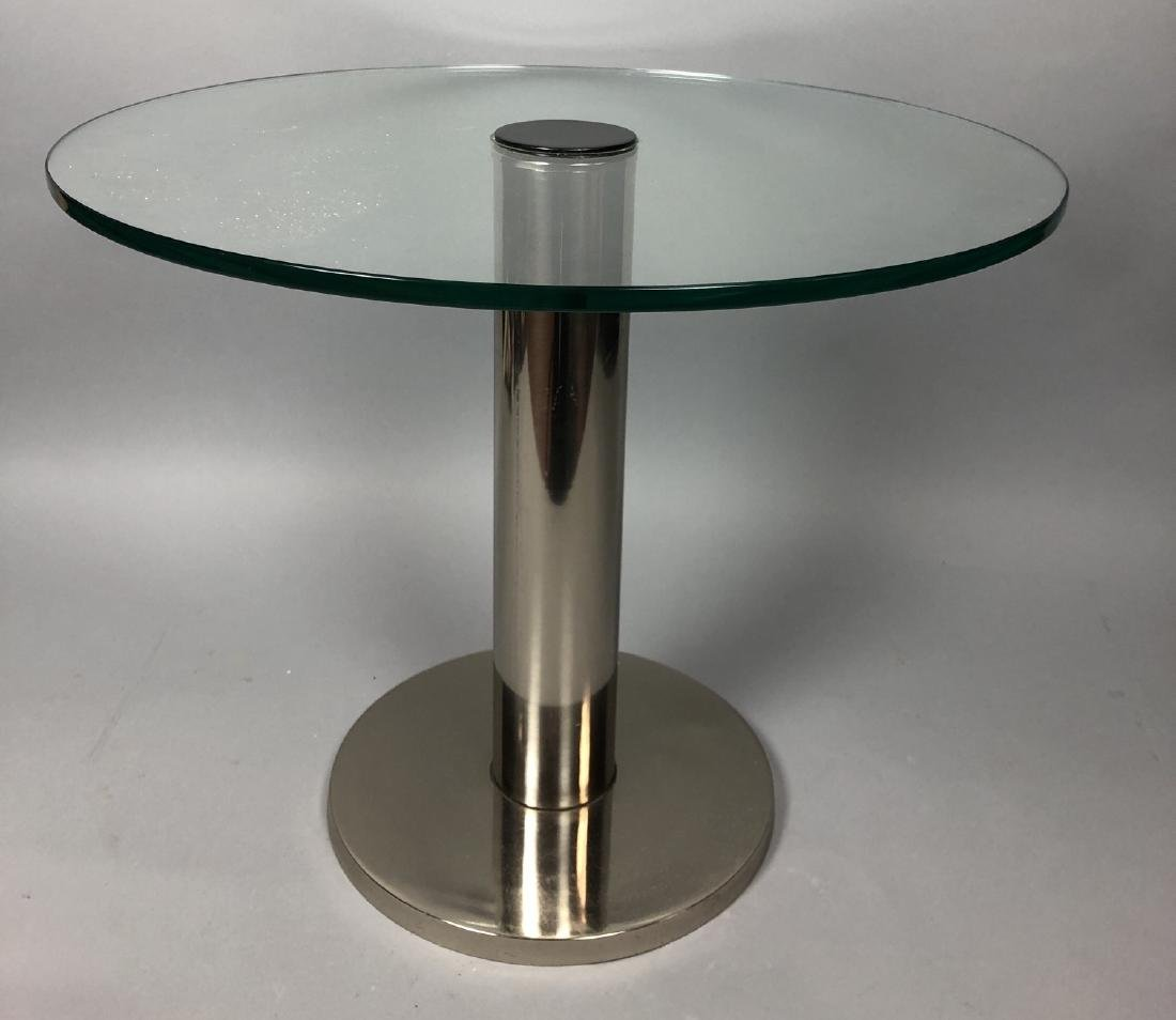Small Round Glass & Chrome Side Table. Modernist