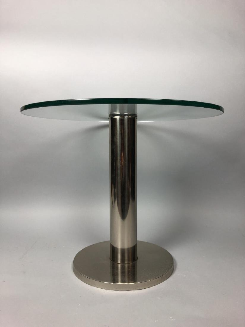Small Round Glass & Chrome Side Table. Modernist - 2