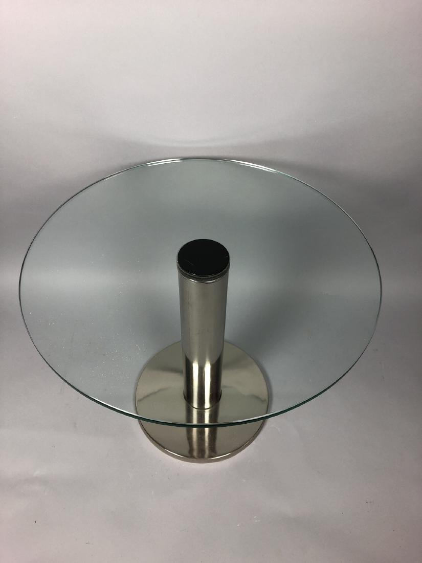 Small Round Glass & Chrome Side Table. Modernist - 3