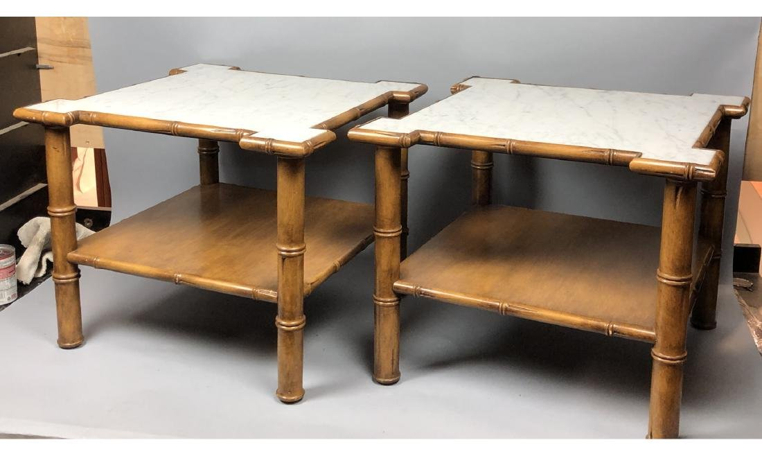 """Pr Marble Top Faux Bamboo Side Tables. Thick """"Bam"""
