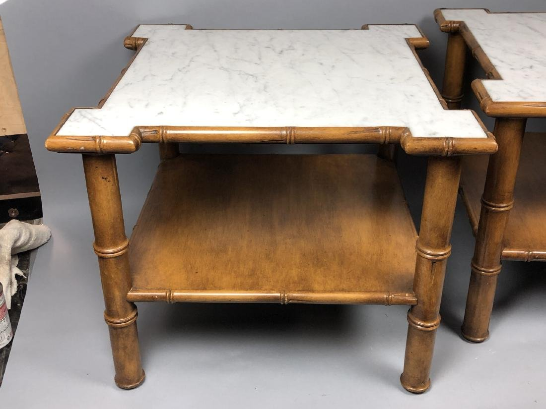 """Pr Marble Top Faux Bamboo Side Tables. Thick """"Bam - 5"""