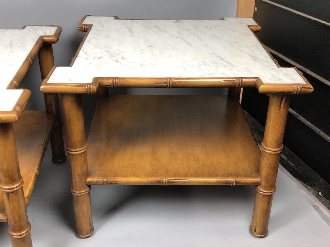 """Pr Marble Top Faux Bamboo Side Tables. Thick """"Bam - 6"""