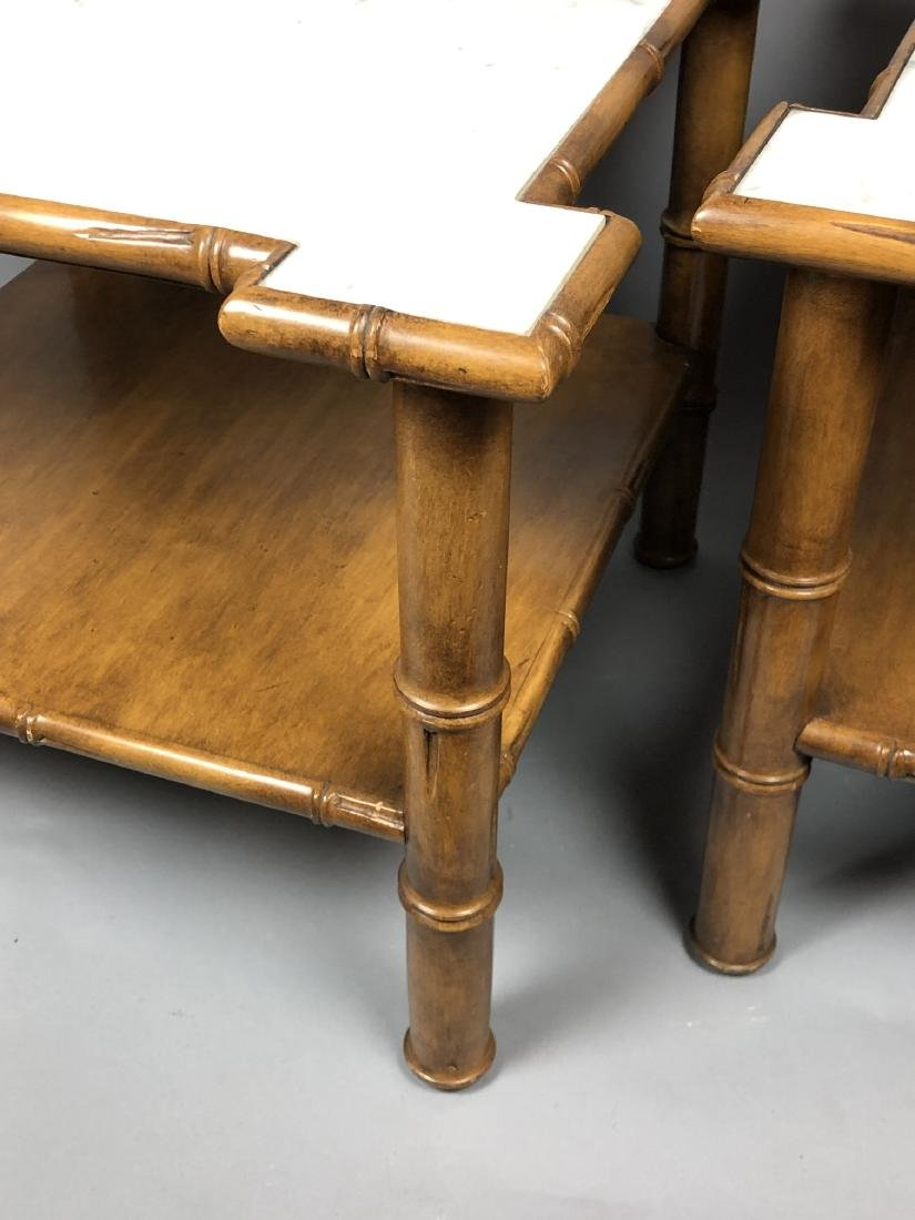 """Pr Marble Top Faux Bamboo Side Tables. Thick """"Bam - 9"""