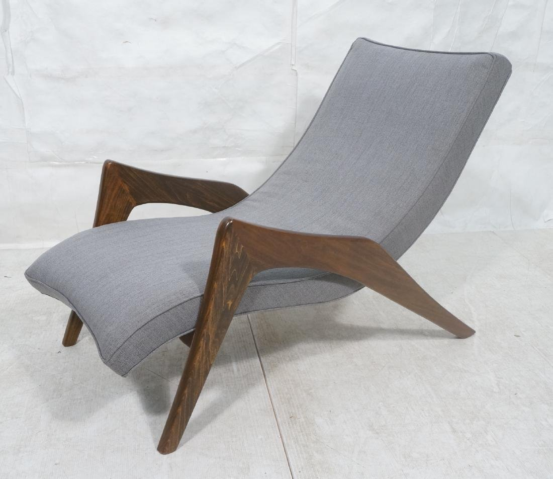 ADRIAN PEARSALL Walnut Chaise Lounge Chair. Elega