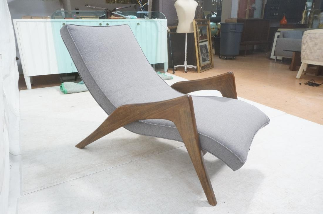 ADRIAN PEARSALL Walnut Chaise Lounge Chair. Elega - 5