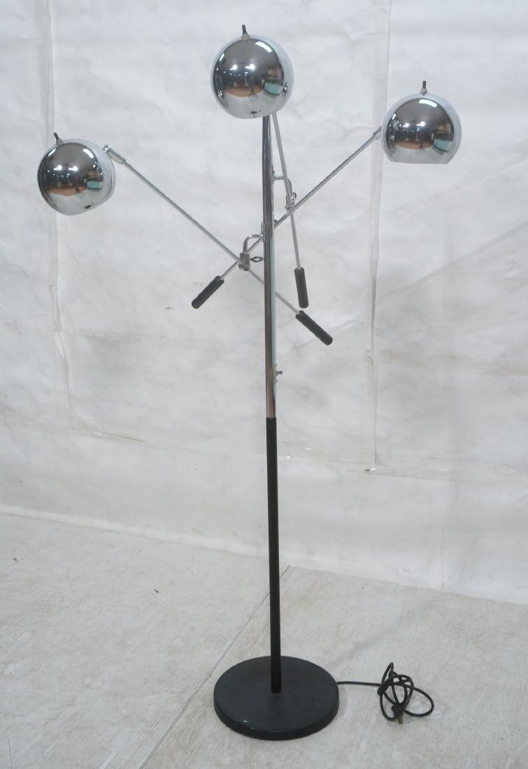 SONNEMAN Modernist 3 Chrome Arm Floor Lamp. Black