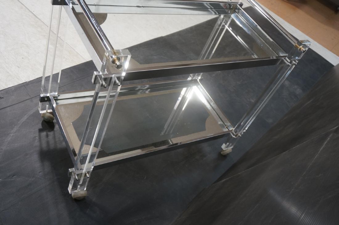 Modernist Lucite & Chrome Serving Bar Tea Cart. R - 10