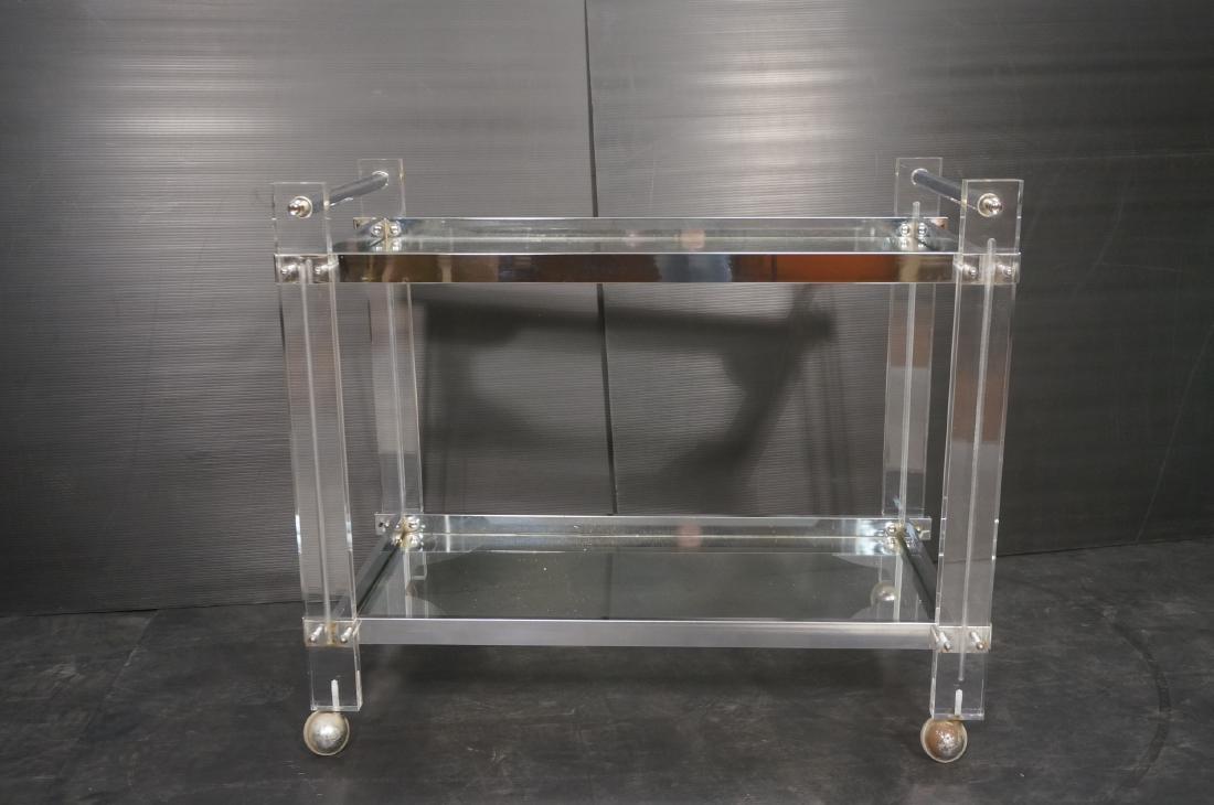 Modernist Lucite & Chrome Serving Bar Tea Cart. R - 2