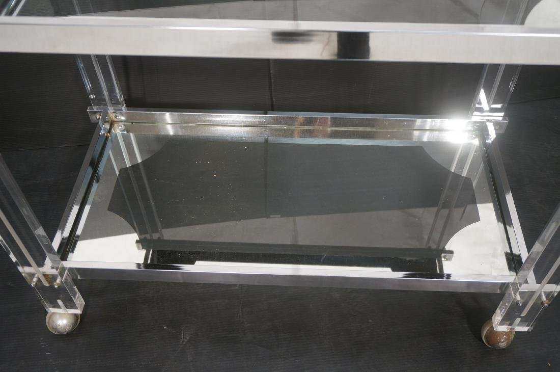 Modernist Lucite & Chrome Serving Bar Tea Cart. R - 3
